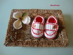Hand crocheted cotton red/white baby loafer shoes by AniramCreates, £7.99