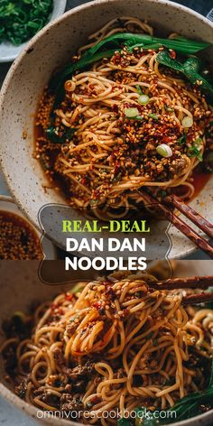 A real-deal dan dan noodle recipe that stays true to the authentic Sichuan flavor. This post covers all the key ingredients and includes a super rich and balanced sauce to recreate the classic dish that tastes like China. Asian Noodle Recipes, Asian Recipes, Ethnic Recipes, Pork Recipes, Cooking Recipes, Healthy Recipes, Dan Dan Noodles Recipe, Spicy Noodles Recipe, Al Dente