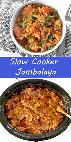 Slow Cooker Jambalaya is a Louisiana classic made simple, with all the big flavor and half the effort. - New Site Healthy Crockpot Recipes, Healthy Cooking, Cooking Recipes, Slow Cooker Party Recipes, 21 Day Fix, Jumbalaya Recipe, Slow Cooker Creamed Corn, Sausage Casserole Slow Cooker, Slow Cooker Sausage Recipes