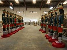 Finished Toy Soldiers line up ready to board the boat for USA. See our entire collection here http://www.christmasnightinc.com/Outdoor-Nutcrackers-and-Toy-Soldiers-c123.html