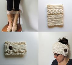 Cable Knit Boot Cuffs and Headband Looks like an easy project to knit up as a first cable attempt. :)