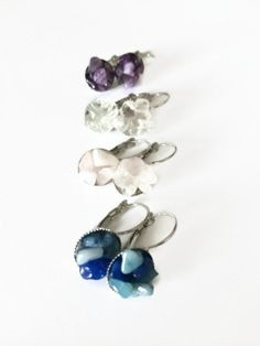 Colored Quartz Earrings Rainbow Fluorite Quartz  by JulemiJewelry, $10.00