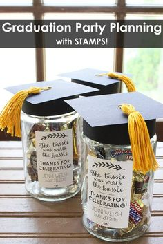 Graduation Party Planning with Stamps! Invitations, custom banners, beverage straw flags and party favors Diy Graduation Gifts, Graduation Party Centerpieces, Graduation Party Planning, College Graduation Parties, Graduation Celebration, Graduation Decorations, Graduation Invitations, Graduation Ideas, Grad Parties