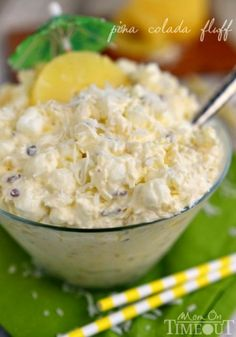 Bring that tropical feeling home with Pina Colada Fluff! An incredibly easy and delicious dessert salad! MomOnTimeout.com   #recipe #salad #dessert #pineapple #coconut