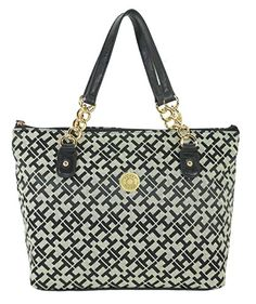 Tommy Hilfiger Handbag, TH Signature Tote (Black and Tan) ** Details can be found by clicking on the image.