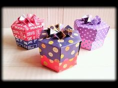 一枚の紙で折る六角形&八角形の箱 One-Sheet Polygonal Boxes - YouTube