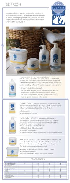 New Scentsy Laundry 2015 Collection for Fall/Winter 2015 including Clothing Conditioner, Dryer disks, Laundry Liquid, and washer whiffs in 13 scents. available at https://catclayton.scentsy.us Follow me on FB at: www.facebook.com/groups/414893638685435/