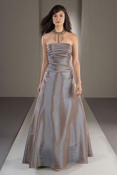 Fashionable A-line dropped waist taffeta dress for bridesmaid