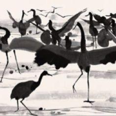 Cranes in dance by Wu Guanzhong
