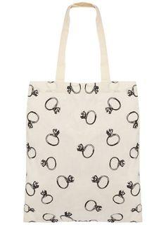 Dorothy Perkins  Cream ring print canvas bag $2