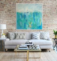 In this post I show you step-by-step how to create gorgeous DIY designer inspired abstract art and a custom frame once your piece is complete! #abstractart