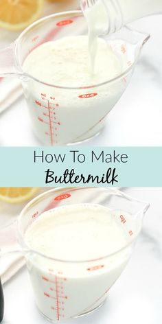 In this simple tutorial you will learn how to make buttermilk. You only need two ingredients and about 10 minutes to make this simple buttermilk substitute! In this simple tutorial you will learn how to make buttermilk. You only need two ingredients a Buttermilk Substitute, How To Make Buttermilk, Buttermilk Recipes, Homemade Buttermilk, Baking Tips, Baking Recipes, Baking Secrets, Yummy Recipes, Sauces