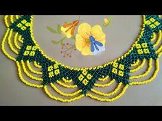 Колье. Бисерная сетка - YouTube Crochet Jewelry Patterns, Beaded Necklace Patterns, Bead Loom Patterns, Beading Patterns, Seed Bead Jewelry, Bead Jewellery, Beading Projects, Beading Tutorials, Craft Accessories