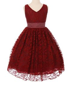 Another great find on #zulily! Burgundy Lace Embellished-Sash Dress - Toddler & Girls #zulilyfinds