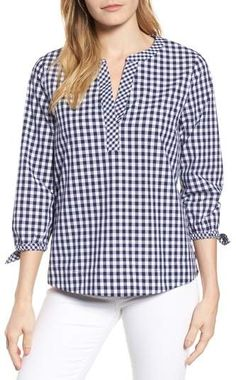Vineyard vines mixed gingham tie sleeve top nordstrom рубашка в 2019 г. Girls Party Wear, Party Wear Dresses, Blouse Styles, Blouse Designs, Black Evening Tops, Lace Top Outfits, Hippie Style Clothing, Style Clothes, Sewing Blouses