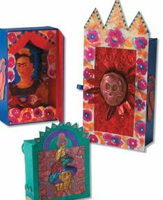 """Dias de Muertos"" art lesson plan by Sargent Art for grades 5-12. Students will learn about Mexican folk and tin art found in the Day of the Dead celebration and niches through the creation of a memory niche honoring an artist, family member, friend or cultural icon."
