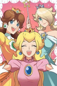 Peach, Daisy, and Rosalina