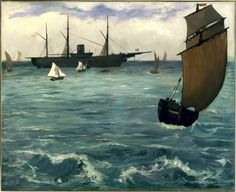 """Édouard Manet (French, 1832–1883) The """"Kearsarge"""" at Boulogne, 1864. Oil on canvas, 32 1/8 x 39 3/8 in (81.6 x 100 cm). Metropolitan Museum of Art, New York. On view at The Met Fifth Avenue in Gallery 818."""