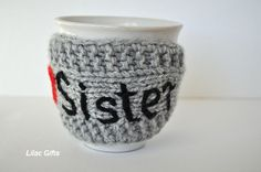 Gift for Sister Mug Cozy Personalized   I love by LilacGifts