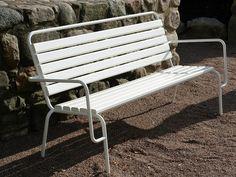 Steel Bench with back TUBEN Tuben Collection by Nola Industrier | design Gunilla Hedlund