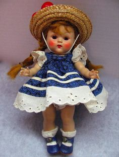 Vintage Vogue Strung Ginny Doll Early Rootbeer Eyes Centersnap Shoes Lucy Dress