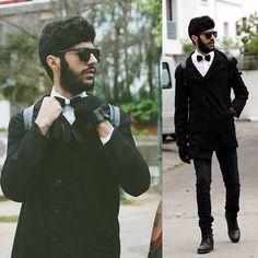 Banggood Bow Tie, Banggood Slim Coat, Mujjo Touchscrean Gloves
