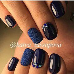 Blue And Silver Nails, Navy Nails, Purple Nails, Pretty Nail Colors, Pretty Nails, Fabulous Nails, Perfect Nails, Shellac Nails, Acrylic Nails