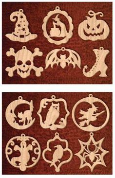 Learn Woodworking 24 Spooky Halloween Ornaments Scrollsaw Pattern - This set of 24 scroll sawn ornaments is a great way to decorate for the Halloween holiday. It contains 12 patterns from plan and 12 patterns from plan The ornaments are fun and ea. Learn Woodworking, Woodworking Patterns, Woodworking Techniques, Popular Woodworking, Woodworking Projects Plans, Woodworking Furniture, Woodworking Basics, Woodworking Workbench, Furniture Plans