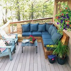 A Sunset Magazine Inspired DIY Outdoor Sectional made of cedar boards, with comf. A Sunset Magazine Inspired DIY Outdoor Sectional made of cedar boards, with comfortable cushions, offering warmth and te. Pallet Garden Furniture, Adirondack Furniture, Outdoor Furniture Plans, Furniture Ideas, Furniture Design, Furniture Buyers, Furniture Market, Furniture Logo, Outdoor Cushions And Pillows