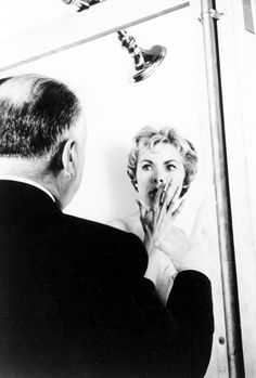Alfred Hitchcock and Janet Leigh on the set of Psycho
