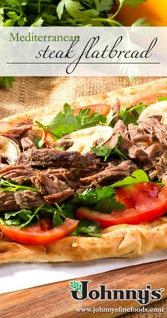 Enjoy some Mediterranean Steak Flatbread with this easy and tasty recipe at your fingertips! How To Cook Mushrooms, Tasty Recipe, Sirloin Steaks, Bisquick, Tapenade, Grilled Vegetables, Mediterranean Recipes, Naan