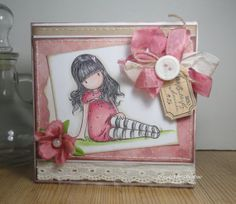 OOAK Handmade pink Card with hand colored Gorjuss door HobbyTine, $5.50