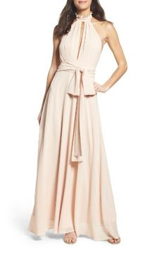 Free shipping and returns on Lulus Ruffle Neck Halter Gown at Nordstrom.com. A plunging front keyhole is alluring yet sophisticated in a gauzy chiffon gown detailed with a frilly ruffled collar and a back-flaunting halter cut. Cinch your waist with the attached sash for a figure-flattering finish.