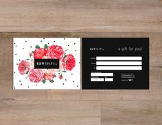 Polka and rose double sided gift certificate template - Instant download