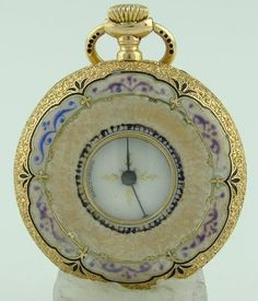 Vintage Patek Philippe 18K Yellow Gold Full Color Pocket Watch 33mm