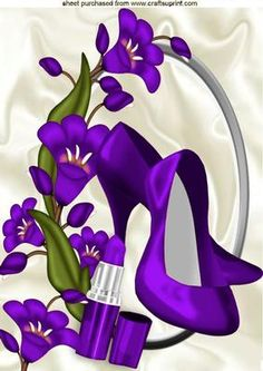 PRETTY PURPLE FLOWERS WITH PURPLE SHOES LIPPY A4 on Craftsuprint - Add To Basket!