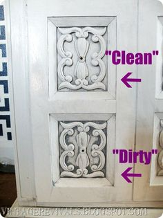 """How to do a """"clean"""" glaze (light, just in the crevices)  vs. a """"dirty"""" glaze (heavy, not perfectly even) painting technique to bring out the detail in furniture depending on the look you are going for"""