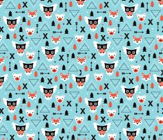 Winter vintage geometric owls and bears illustration kids pattern by littlesmilemakers