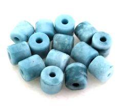 15 Antikperlen Röhrchen   Türkis Blau 7.5mm - pe5129