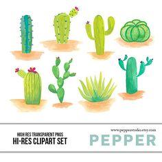 INSTANT DOWNLOAD Desert Cactuses Clipart Set Hi by PepperStudio