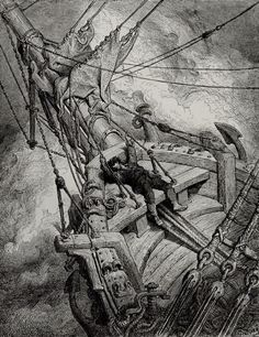 It flung the blood into my head, and I fell down in a swound - from The Rime of the Ancient Mariner - by Paul Gustave Dore - Plate 24 (unknown engraver)