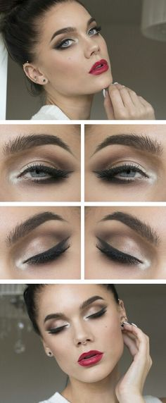 eye makeup with accentuated lips