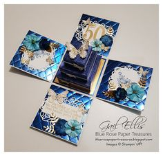 Wow wow wow - have you seen the new Nobel Peacock DSP and Foil Sheets from Stampin' Up! I received mine and immediately ripped open the. Boite Explosive, Explosion Box Tutorial, Birthday Explosion Box, Shadow Box Frames, Altered Boxes, Pillow Box, Tiny Flowers, Wow Products, Keepsake Boxes