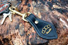 LEATHER Key fob Key chain Key holder  knuckle duster via Etsy