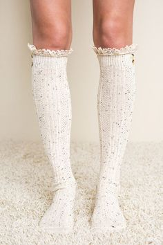 Knee High Ruffled Lace Socks - IvoryFabric Content: 95% Cotton 5% Spandex | Shop this product here: spree.to/a9vv | Shop all of our products at http://spreesy.com/Deh_sale    | Pinterest selling powered by Spreesy.com