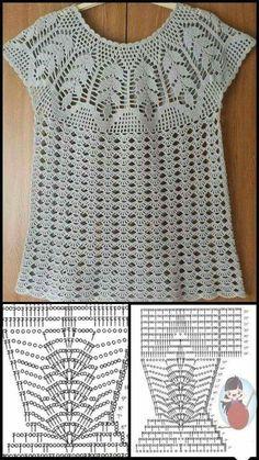 Débardeurs Au Crochet, Crochet Motifs, Crochet Diagram, Filet Crochet, Crochet Stitches, Crochet Patterns, Crochet Tank Tops, Crochet Summer Tops, Crochet Shirt