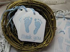 Baby boy footprints thank you tags are hand stamped on thick quality cardstock. They are ideal for baby boy shower events! This listing is for a