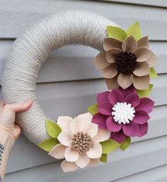 Spring wreath neutral wreath yarn wrapped wreath wool by madymae