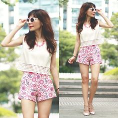 Prisca E. - Sheinside Perforated Cropped Top, Sheinside Hot Pink Floral Print Shorts - Hot Pink!