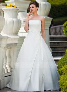 Ball-Gown Strapless Court Train Satin Organza Wedding Dress With Ruffle Beading Sequins (002011456) - JJsHouse